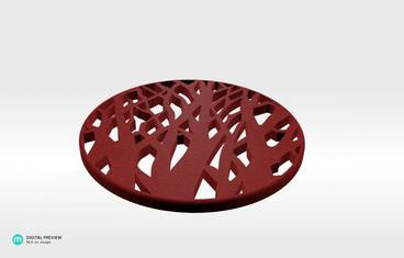 Tree cup coaster - Plastic matte red