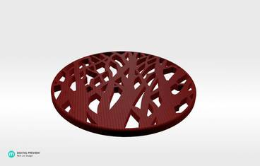 Tree cup coaster - Plastic shiny & sturdy red
