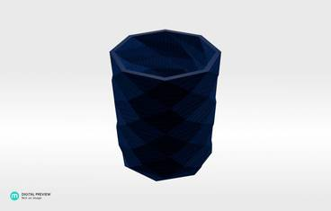 Triangulated pencil holder - Plastic shiny & sturdy blue