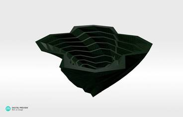 Twisted planter - Plastic shiny & sturdy green