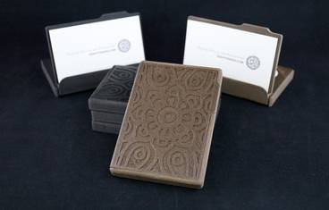 Business card case / stand with ornament